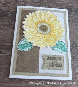 Gebrurtstagskarte mit Sonnenblume braun beige