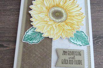 Karte mit Sonnenblume in Brauntöen