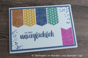 Karte mit Streifen mit Incolor Farben