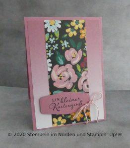 Grußkate mit Ombré Papier und Wiesenblumen