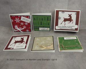 kleine Weihnachtskarten mit Schachtel